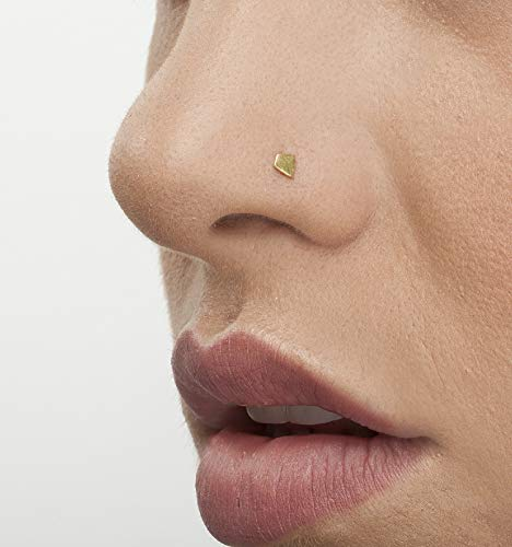 Tiny Nose Stud: Unique Handmade Solid 14k Yellow Gold Nostril Jewelry in 20 Gauge For LEFT Side ()