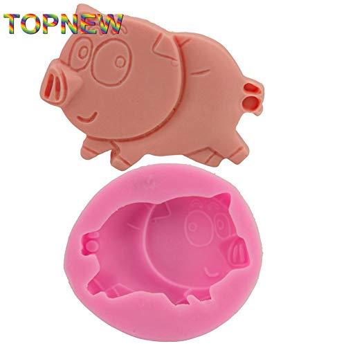 1 piece Piglet Pig Silicone Cake Molds Non-Stick Sugar Fondant Jelly Jello Ice 3D Soap Moulds 1883 ()