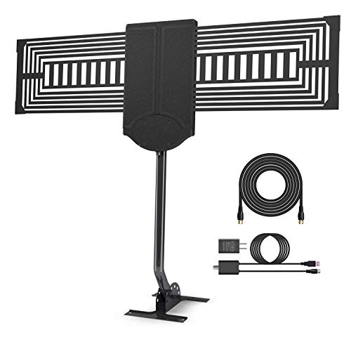 [Latest 2019] 150Miles Ultra Amplified Outdoor TV Antenna - Digital HDTV Antenna Free Channels Support 4K/1080p/All Older TVs with Mounting Pole/33Ft RG6 Coax Cable/AC Adaptor (Omni Directional A)
