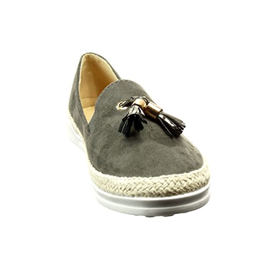 Angkorly Damen Schuhe Espadrilles - Slip-On - Knoten - Fransen - Golden Flache Ferse 2.5 cm - Grau FC-02 T 38 v4ohtWotg5