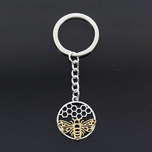 N/ A Schlüsselbund 29x25mm Gold Bee Honeycomb Anhänger DIY Herren Auto Schlüsselbund Ringrahmen Schlüsselbund Souvenir