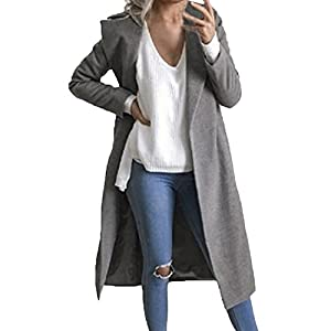 Auxo Women Trench Coat Long Sleeve Pea Coat Lapel Open Front Long Jacket Overcoat Outwear Cardigan