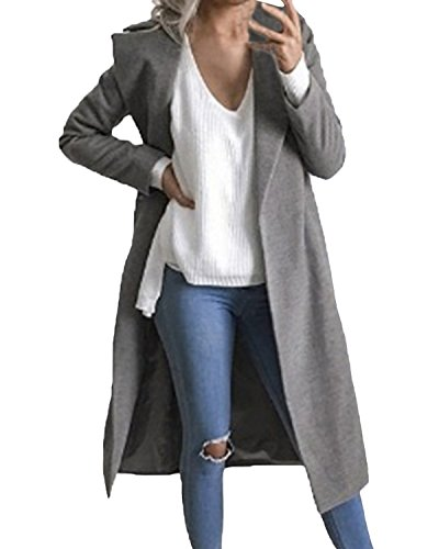 Auxo Women Trench Coat Long Sleeve Pea Coat Lapel Open Front Long Jacket Overcoat Outwear Grey US 6/Asian M