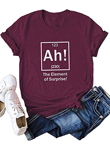 Festnight Women Funny T-Shirt The Element of Surprise Letter Print Short Sleeves Blouse O Neck Plus Size Tees Tops Wine Red