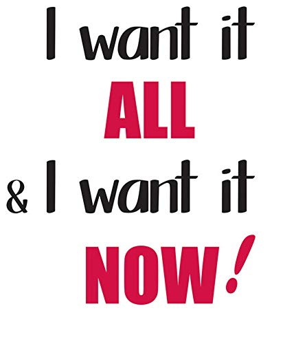 Quotes Wall Sticker Mural Decal Art Home Decor I Want It All & I Want It Now -