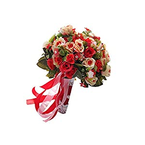 Seller-Wu Wedding Bouquet Handmade Artificial Flower Rose Bridal Bouquet for Wedding Decoration,Red 116