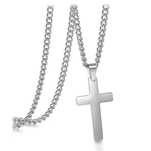 "Vcmart Silver Tone Plain Cross Pendant Necklace for Women Men Stainless Steel Curb Chain, 24"""