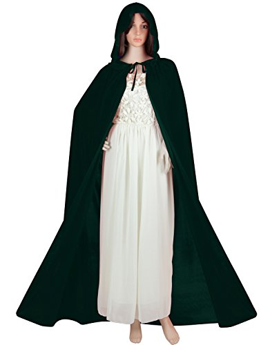 Green Witch Costumes (Acediscoball Women's Velvet Cape with Hood Halloween Witch Costume Cloak,Green,One Size)