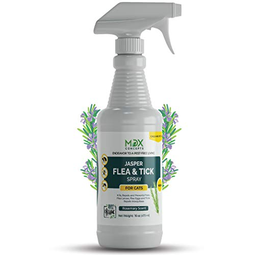 mdxconcepts Jasper Organic Cat's Flea and Tick Control Spray - Rosemary Oil Treatment for Cats -100% Natural -Essential Oils -Safe to Use -16 oz