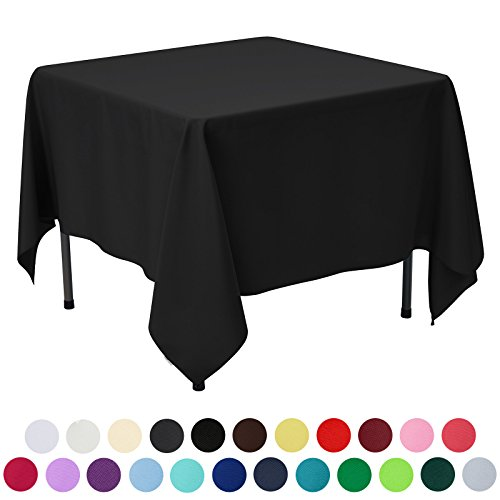 VEEYOO 85 inch Square Solid Polyester Fabric Restaurant Party Tablecloth, Black