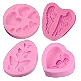 Creatiee Silicone Fondant Baking Molds with Butterfly, Rose Flowers Heart, Angle Wing and Heart for DIY Cake Decorating Chocolate Sugar Craft Molds (4PC, Pink)