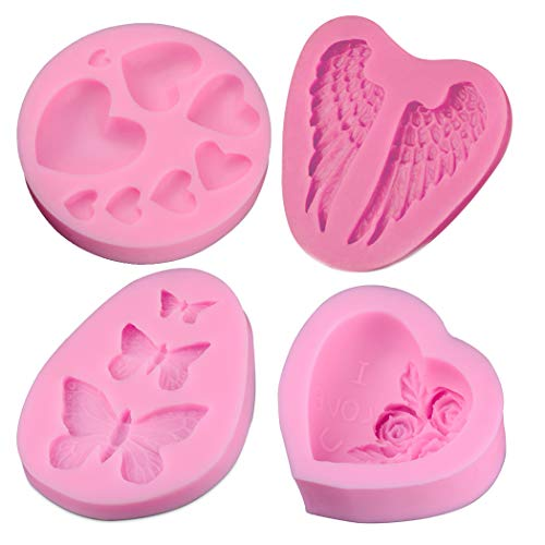 (Creatiee Silicone Fondant Baking Molds with Butterfly, Rose Flowers Heart, Angle Wing and Heart for DIY Cake Decorating Chocolate Sugar Craft Molds (4PC, Pink))