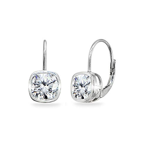 Sterling Silver Cubic Zirconia 6x6mm Cushion-Cut Bezel-Set Dainty Leverback Earrings for Women Teen Girls