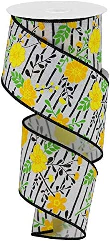 Wired Ribbon 1.5 x 10 Yards Floral Print with Black Lines Bright Green, Pink Crafting Gift Wrapping Floral Arrangements for Wreaths