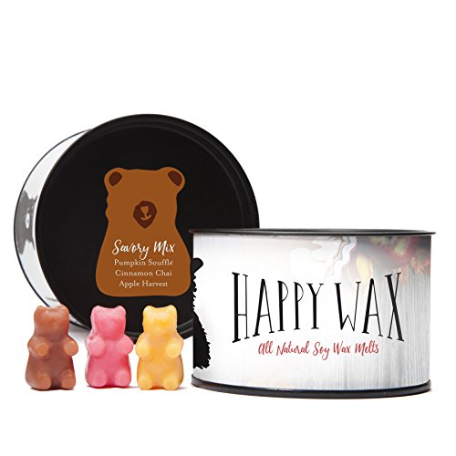 Happy Wax - Savory Mix Scented Soy Wax Melts - 3.6 Oz. Tin of Scented Wax Tarts - Over 100 Hours of Fantastic Fall Fragrances! [Pumpkin Souffle, Cinnamon Chai, Apple Harvest]