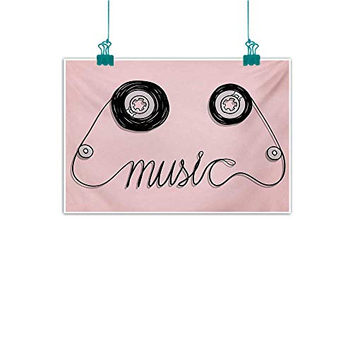 Mdxizc Art Canvas Print Music Music Letters Written by Cassette Tape Loud Improvisation Beat Pulse Tempo Image for Living Room Bedroom Hallway Office W35 xL31 Pink Black (The Pulse Of Allah)