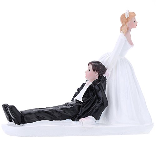 (Anself Cake Topper Figurine Resin Dolls for Wedding Decor, Bride Groom Pattern)