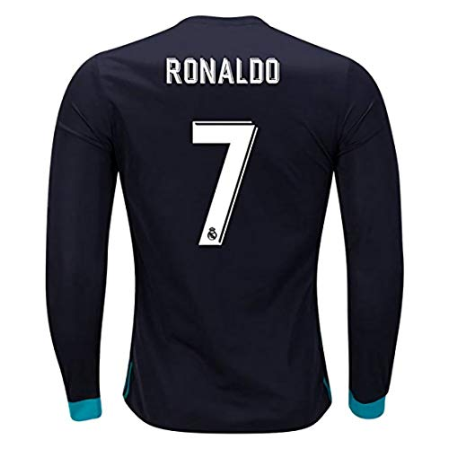 Real Madrid Ronaldo 7 Away 2017-2018 Season Long Sleeve Soccer Jersey Color Black Size S