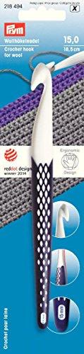 PRYM 218494 Wollhäkel-Nadel Kunststoff ergonomisch 15mm/18,5cm, 1 Stück