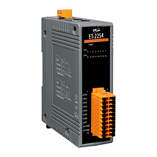 ICP DAS USA ET-2254P Ethernet I/O Module with 16-channel Universal Digital Input and Output, Modbus TCP. Can drive 400 mA load (Input Digital Remote Module)