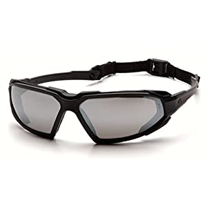 Pyramex Highlander Safety Eyewear, Black Frame/Silver Mirror Anti-Fog Lens