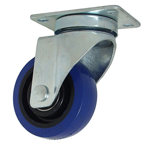 "RWM Casters VersaTrac 27 Series Plate Caster, Swivel, Rubber Wheel, Ball Bearing, 225 lbs Capacity, 3-1/2"" Wheel Dia, 1-1/4"" Wheel Width, 4-3/4"" Mount Height, 3-3/4"" Plate Length, 2-5/8"" Plate Width from RWM Casters"
