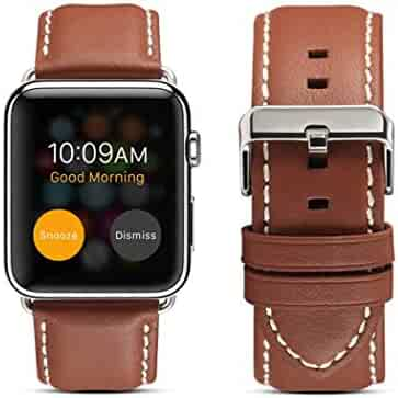 yotefe Compatible with Apple Watch Genuine Leather Band 38mm 40mm Series 4 Series 3 Series 2 Series 1, Luxury Stylish Strap Exquisite Durable Replacement Wristband