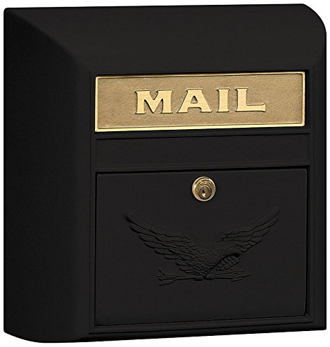 Blk Wall Mailbox (Salsbury Industries 4150E-BLK Eagle Door Modern Mailbox, Black)