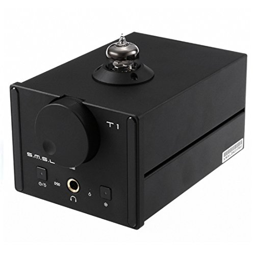 SMSL T1 Tube Headphones Amplifier, DAC Audio Digital to Analog Converter, Audio Decoder DSD512 384kHz Optical Coaxial USB Input Black SMSL