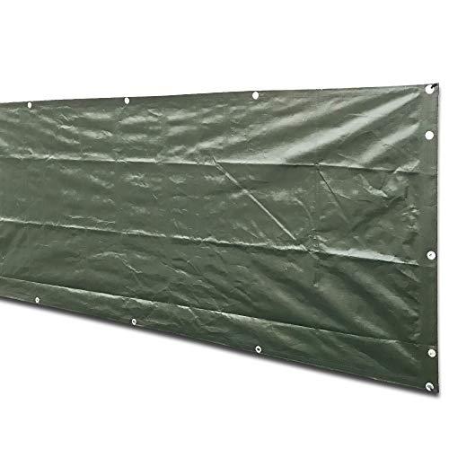 Alion Home Custom Sizes Heavy Duty Waterproof Wind Block Privacy Screen Tarp for Backyard Deck, Patio, Balcony, Fence, Porch, Window, Pergola - 100% Blockage (6' x 10', Dark - Fence Canvas