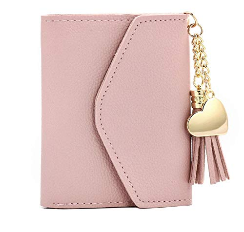 Small Wallets for Women Leather Mini Credit Card Case with ID Window and Card Holder Coin Purse Tassel Ladies Girls Keychain Wallet (Pink)