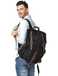 Men's Leather Canvas Backpack Large School Bag Travel Rucksack