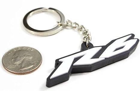 Yamaha YZF R6 YZF-R6 YZFR6 Key Chain Fob Ring logo emblem White