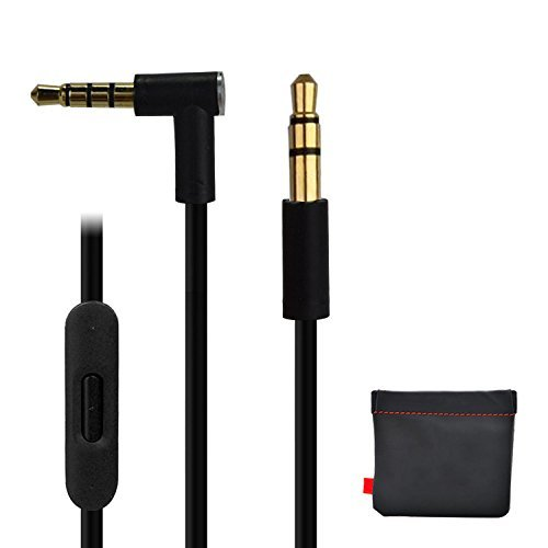 Replacement Audio Cable Cord w/ In-line Remote & Microphone + Original Replacement Leather Pouch Bag for Beats by Dr Dre Headphones Solo Studio Pro Detox Wireless Mixr Executive (Black)