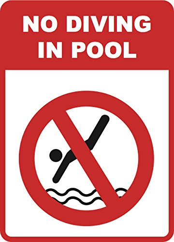 No Diving in Pool Sign Inches Swimming Warning Signs - 4 Pack, 12x18 by iCandy Combat