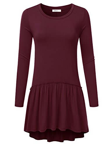 Doublju High-Low Ruffle Tunic Dress Top (Made In USA / Plus size available) BURGUNDY 3XL (Plus Size Teen)