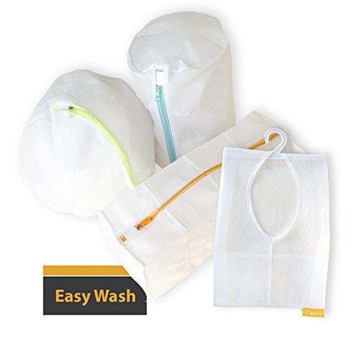 EASY WASH - 3D Mesh Laundry Bags set with Handy Organizer Pouch for Sweaters, Stockings, Bras, Lingerie, and Delicates, Larger Volume, Time Saver, Easy to Store, made with Top Quality Durable Mesh. (Walmart Wicker Hampers)