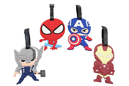 Finex Set of 4 Avengers Captain America Iron Man Spiderman Luggage ID Tag Bags
