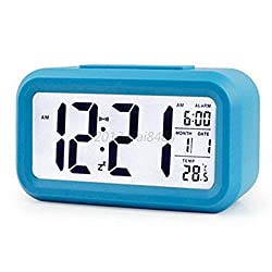 Digital LED Snooze Electronic Alarm Clock Backlight Time Calendar Thermometer Colors:Blue