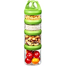 SELEWARE Portable and Stackable 4-Piece Twist Lock Panda Storage Jars Snack Container to Contain Formula, Snacks, Nuts, Drinks and More, BPA and Phthalate Free, 31oz Green