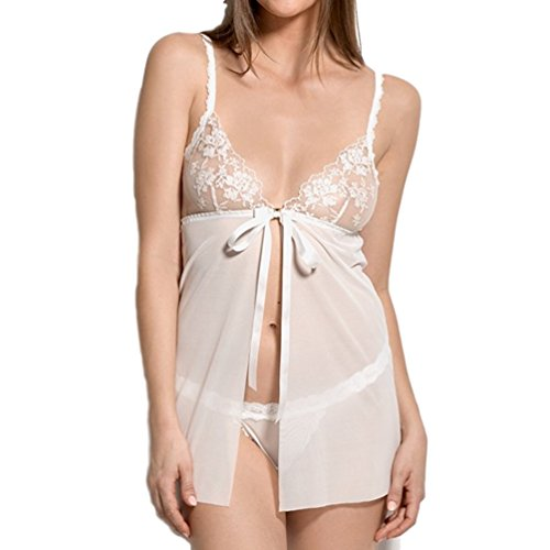 Hanky Panky Elizabeth Babydoll with G-String #1L6051 (Large, Ivory) - Hanky Panky Baby Doll