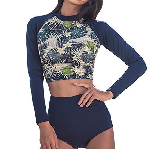 Iusun Women 's Wetsuit Long Sleeve Thin Printing Swimwear Rash Guard Surf Swim Top Super Stretch UV Sun Protection- Perfect for Swimming/Scuba Diving/Snorkeling/Surfing