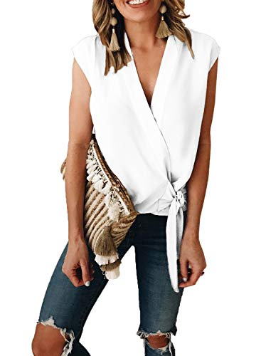 (ZKESS Junior Casual V Neck Sleeveless Wrap Tie Knot Front Tank Tops Summer Chiffon T-Shirt Blouses)