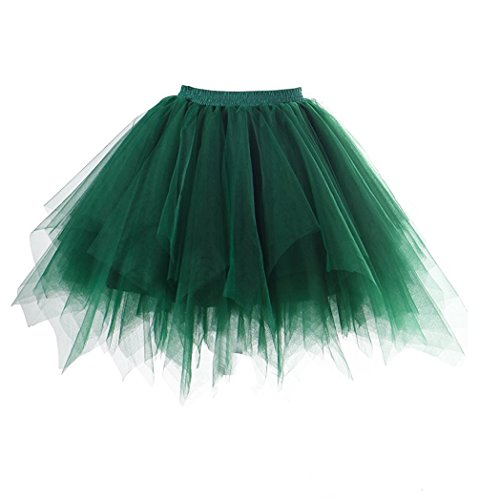 Ballerina Costume Walmart (Apiidoo Women's Ballet Bubble Tutu Costume Vintage Petticoat Layered Dance Skirt Dark Green)