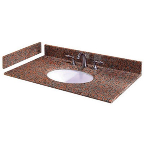 22' White Bowl (Pegasus PE31562 31-Inch Terra Cotta Granite Vanity Top with White Bowl and 8-Inch Spread)