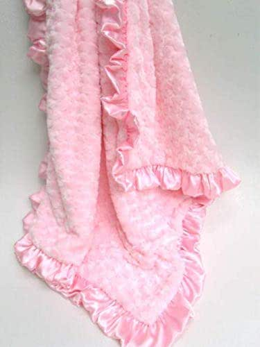 PHOENIX BABY BLANKET  Beautiful Roses  satin  print with soft plush minky swirls unique baby shower gift