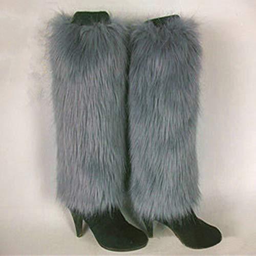 Solido Scarpe Pelliccia Donna Grey 40 Scaldamuscoli Bagagliaio Nero Achidistviq Furry Per Calze Di Colore Lunghe Ecologica Gamba Finta Moda Cm Sintetica Invernale Morbida In qvww60p