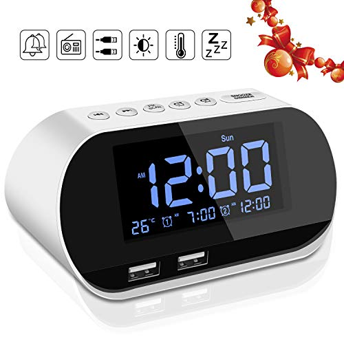 Alarm Clock Radio Dual USB Ports for Charging Dual Alarms Digit Display with Dimmer Snooze for Heavy Sleepers Bedrooms Outlet Powered Plus Battery Backup (White)