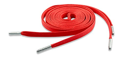 Red Fintoco Designer Flat Waxed Shoelaces with Silver Metal Aglets 72'' / 183cm Length by Fintoco (Image #1)