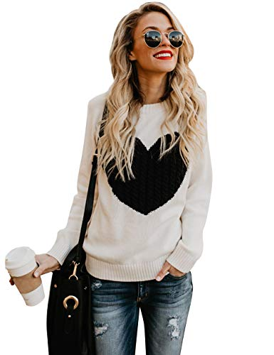 shermie Women's Pullover Sweaters Long Sleeve Crewneck Cute Heart Knitted Sweaters Beige Large